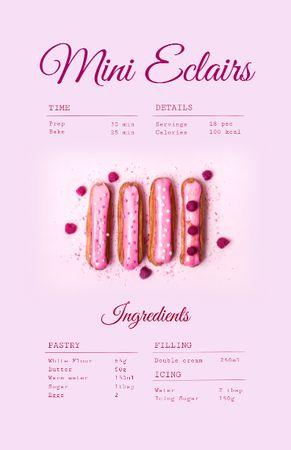 Yummy Eclairs Cooking Steps Recipe Card Modelo de Design