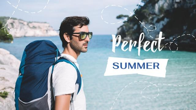 Plantilla de diseño de Summer Travelling Inspiration with Man with Backpack in Nature Youtube Thumbnail