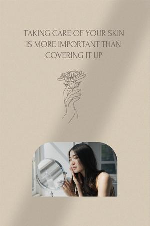 Plantilla de diseño de Skincare Offer with Girl looking in Mirror Pinterest