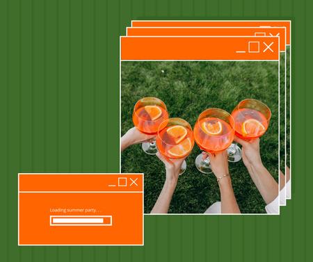 Plantilla de diseño de Summer Party with People holding Cocktails Facebook