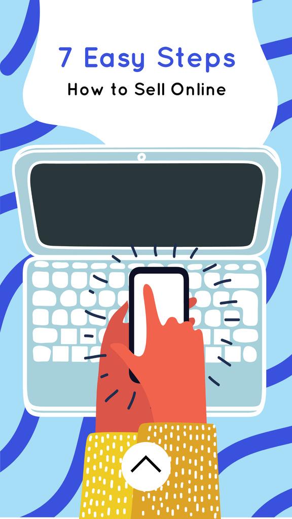 Ontwerpsjabloon van Instagram Story van Launching Application with phone and laptop