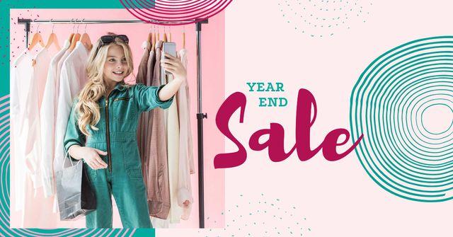 Modèle de visuel Fashion Sale Ad with Stylish Young Woman - Facebook AD