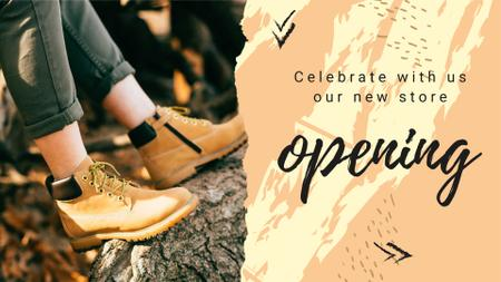 New Store Opening Announcement with Hiking Boots FB event cover – шаблон для дизайну