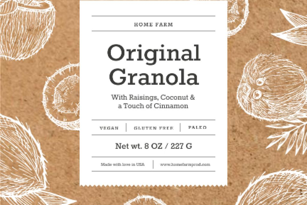 Granola packaging with coconuts in brown — Crear un diseño