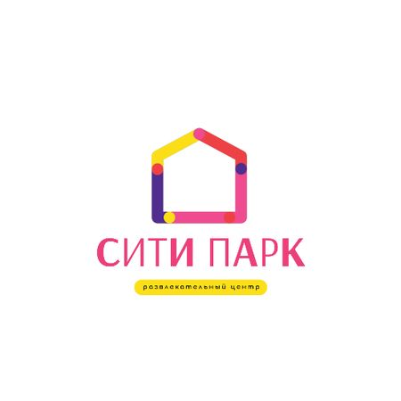 Entertainment Center with Colorful House Silhouette Animated Logo – шаблон для дизайна