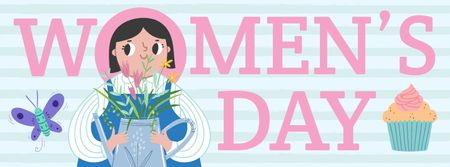 Women's day greeting with Girl illustration Facebook coverデザインテンプレート