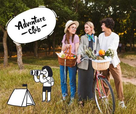 Designvorlage Adventure Club Announcement with cute Girls and Bicycle für Facebook