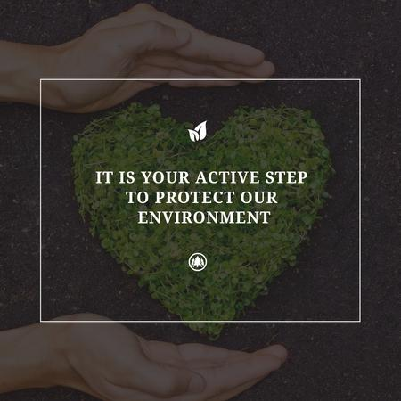 Plantilla de diseño de Eco Quote on Heart of Leaves Instagram AD