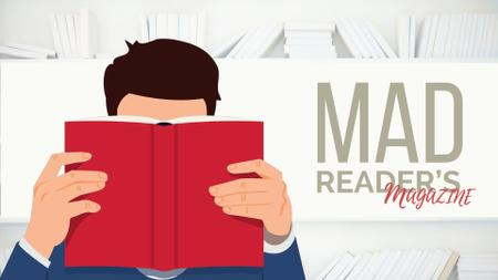 Modèle de visuel Reading Inspiration Man with Red Book - Full HD video
