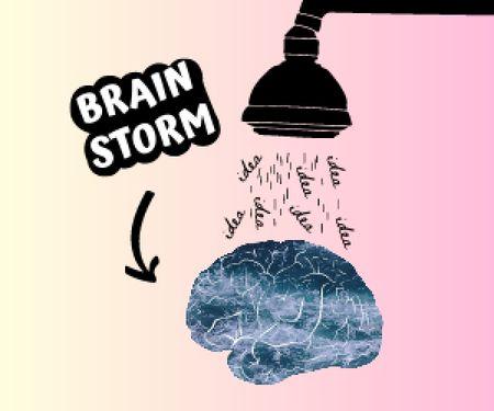 Template di design Funny Joke with Brain Illustration Medium Rectangle