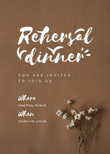 Rehearsal Dinner Announcement With Tender Flowers