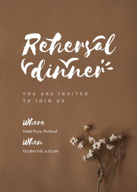 Rehearsal Dinner Announcement with Tender Flowers Invitation – шаблон для дизайна