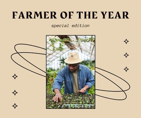 Farmer planting Flowers in Greenhouse Facebook – шаблон для дизайна