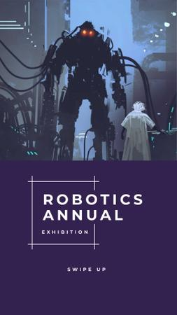 Robotics Annual Conference Ad with Cyber World illustration Instagram Storyデザインテンプレート