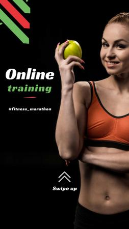 Online Training Offer with Woman holding Apple Instagram Story Tasarım Şablonu