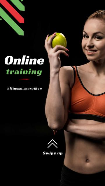 Online Training Offer with Woman holding Apple Instagram Storyデザインテンプレート