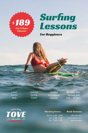 Surfing Guide with Woman on Board Tumblr Design Template