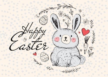 Szablon projektu Happy Easter Greeting with Cute Bunny in Wreath Postcard