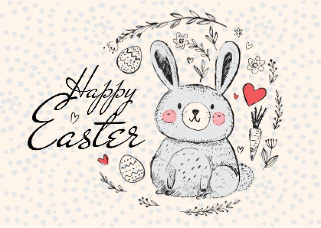 Happy Easter Greeting with Cute Bunny in Wreath Postcard Design Template