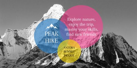 Hike Trip Announcement with Scenic Mountains Peaks Image – шаблон для дизайна