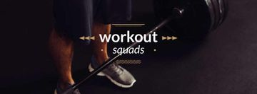 Workout squads Ad with Man Lifting Barbell
