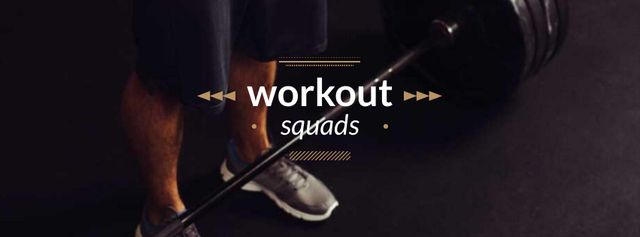 Workout squads Ad with Man Lifting Barbell Facebook coverデザインテンプレート