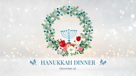 Plantilla de diseño de Hanukkah Dinner with Wreath and Menorah FB event cover