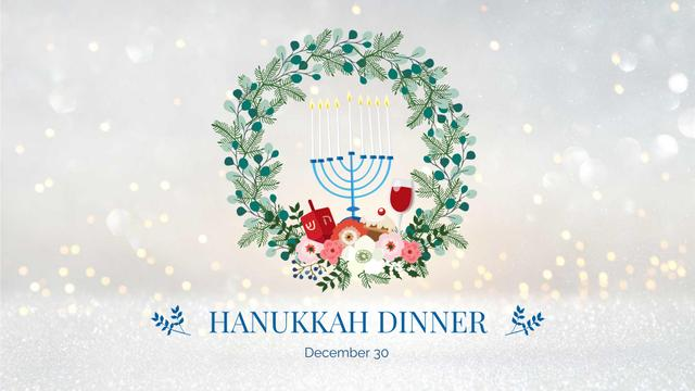 Hanukkah Dinner with Wreath and Menorah FB event cover – шаблон для дизайна