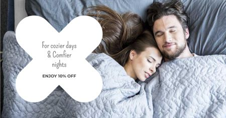 Plantilla de diseño de Bed Linen ad with Couple sleeping in bed Facebook AD