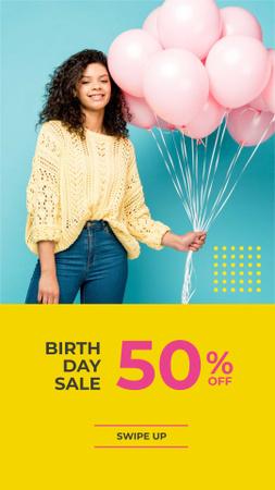 Birthday Sale Offer with Girl holding Balloons Instagram Story – шаблон для дизайна