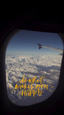 Ontwerpsjabloon van TikTok Video van Flying Plane over Snowy Mountains