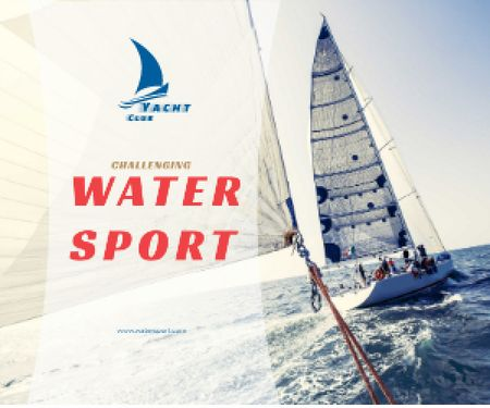 Template di design Water Sport Yacht Sailing on Blue Sea Medium Rectangle