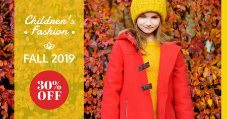 Autumn Sale Girl in Warm Clothes Facebook AD Modelo de Design