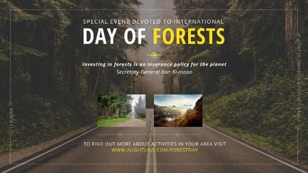 International Day of Forests Event Forest Road View Title Tasarım Şablonu