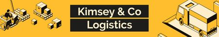 Logistics Company ad with Trucks and Warehouse LinkedIn Cover Tasarım Şablonu