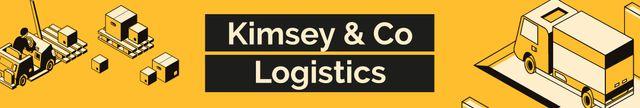 Logistics Company ad with Trucks and Warehouse LinkedIn Cover Tasarım Şablonu