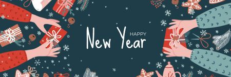 People sharing New Year gifts Email header Design Template