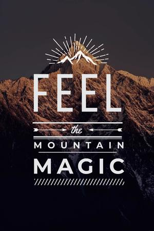Plantilla de diseño de Inspirational Quote with Mountain Landscape Pinterest