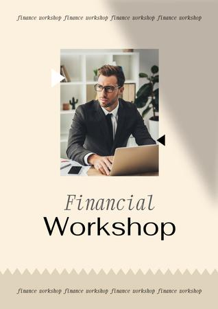 Template di design Financial Workshop promotion with Confident Man Poster