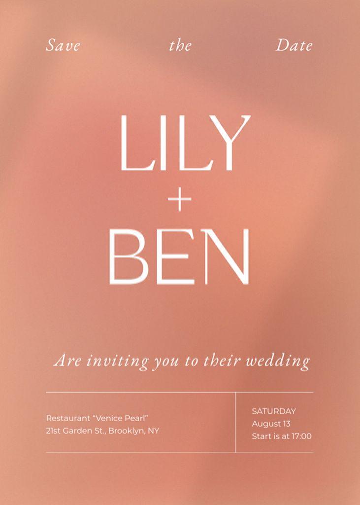 Plantilla de diseño de Wedding Day Announcement on Pink Invitation
