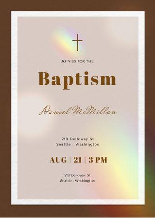Designvorlage Baptism Ceremony Announcement with Christian Cross für Invitation