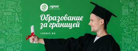 Abroad Education Program Student with Diploma Facebook cover – шаблон для дизайна