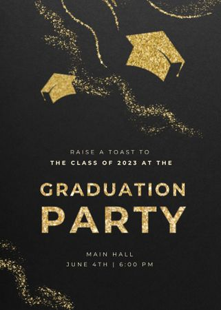 Designvorlage Graduation Party Announcement with Students' Hats für Invitation