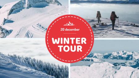 Modèle de visuel Winter Tour offer Hikers in Snowy Mountains - FB event cover
