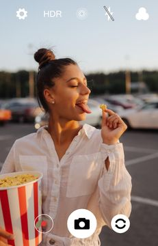 Attractive Woman with Big Popcorn