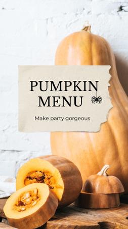 Pumpkin Menu on Halloween Announcement Instagram Story Modelo de Design