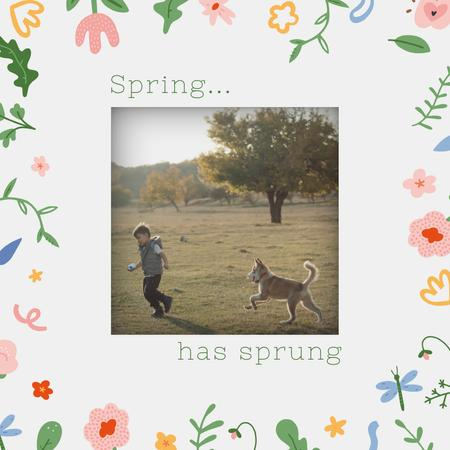 Boy playing with Dog in Spring park Animated Post Tasarım Şablonu
