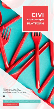 Crowdfunding Platform Red Plastic Tableware Graphic – шаблон для дизайна