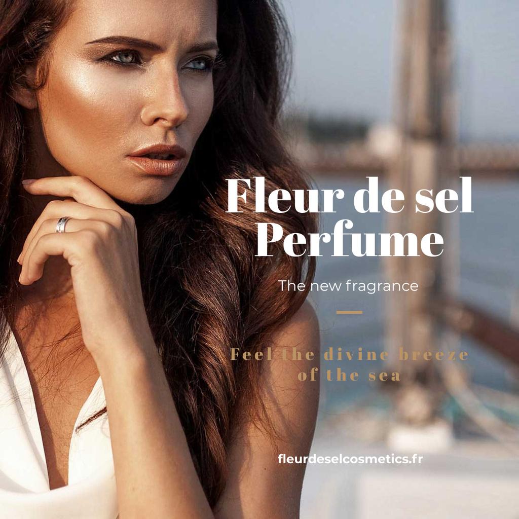 Ontwerpsjabloon van Instagram van New perfume Ad with Beautiful Young Woman