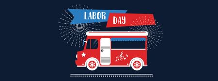 Labor Day Greeting with Car and Fireworks Facebook cover Tasarım Şablonu